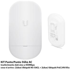 Ubiquiti NanoStation KIT Punto/Punto 5AC loco 5Ghz AC - bundle 2x NS-5ACL + 2x PoE 24W/0.5a